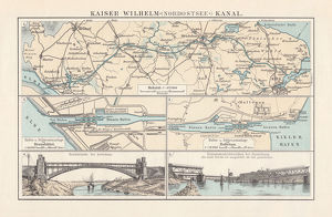 Kiel Canal (Nord-Ostsee-Kanal), Germany, lithograph, published in 1897