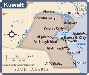 Kuwait country map