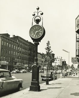 Large street clock, New York City, (B&W),