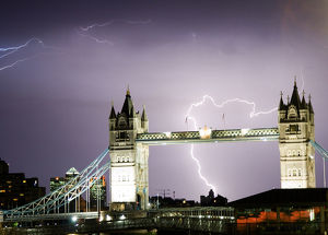 Lightning over Tower Bridge, London