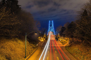 Lions gate bridge light trails