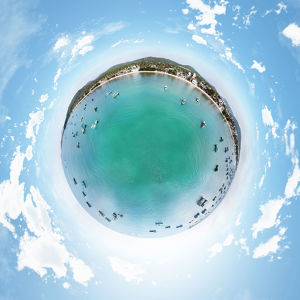 Little Planet Image above Fishing Boats Resting on the Beach of Phu Quoc Island, Vietnam