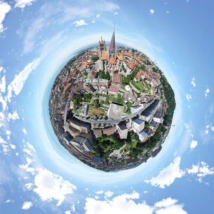 Little Planet of Lausanne Cathedral in Lausanne, Switzerland
