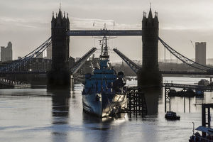 London Bridge and HMS Belfast in River Thames