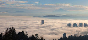 Low Fog Bank Over Portland Oregon Cityscape