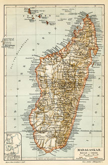 Madagascar Ceylon map 1895