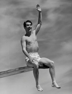 hulton archive/man diving board