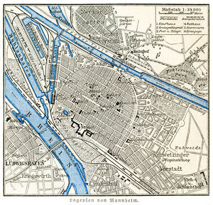 Mannheim city map 1895
