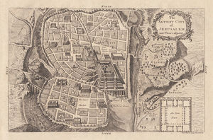 Map of the ancient Jerusalem, copperplate engraving, published in 1774