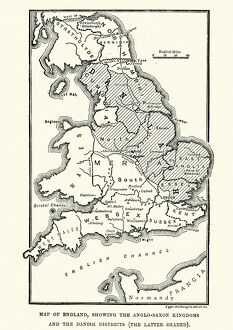 Map of Anglo-Saxon Kingdoms and the Danelaw, 9th Century