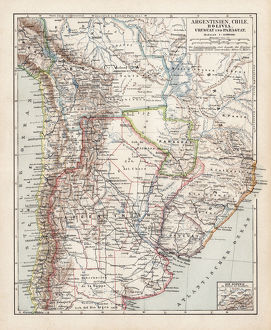 Map of Argentine, Chile and Bolivia 1900