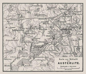 Map of the Battle of Austerlitz also known as the Battle of the Three Emperors