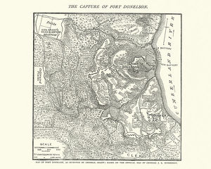 Map of the Battle of Fort Donelson, American Civil War