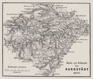 Map of the Battle of Jena and Auerstedt (AuerstA€dt) 1806