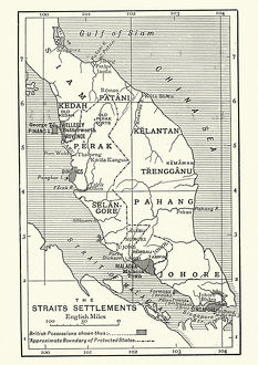 Map of British Malaya and Singapore, 1890s
