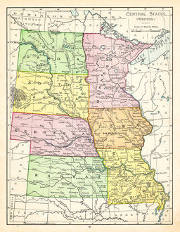 Map of central states USA 1895