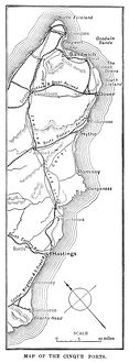 Map of the Cinque Ports (Victorian engraving)