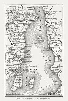 Map of Copenhagen and sourroundings, Denmark, wood engraving, published 1897
