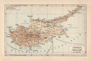 Map of Cyprus, published in 1880