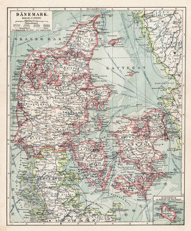 Map of Denmark 1900