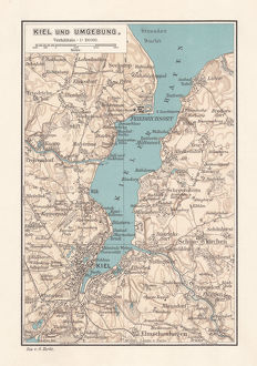 Map of Kiel, capital of Schleswig-Holstein, Germany, lithograph, published 1887