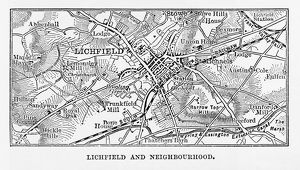 Map of Litchfield in Staffordshire, England Victorian Engraving, 1840