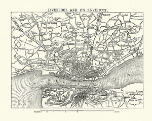 Map of Liverpool and its environs, England, 1870s