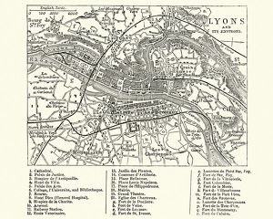 Map of Lyons, France, 19th Century