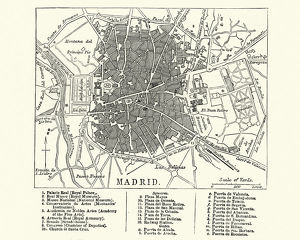 Map of Madrid, Spain, 19th Century