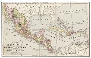 Map of Mexico and Central America 1889