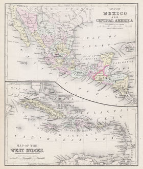 Map of Mexico and West Indies 1877