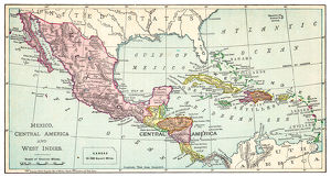 Map of Mexico and West Indies 1895