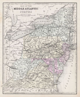 Map Middle atlantic states 1877