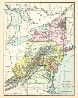 Map of middle atlantic states USA 1895