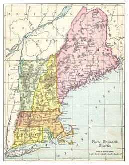 Map of New England states 1895