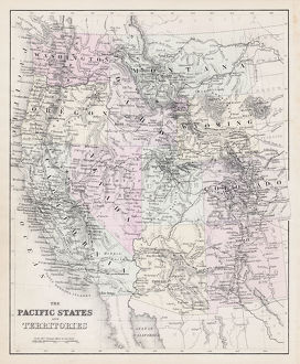 Map of Pacific States USA 1877