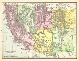 Map of Pacific States USA 1895