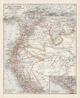 Map of Peru, Colombia, Venezuela, Ecuador 1900