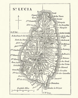 Map of Saint Lucia, 19th Century