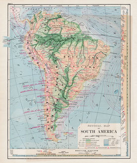 Map of South America 1877