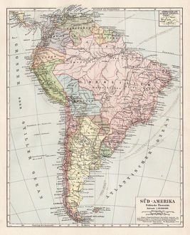 Map of South America 1900