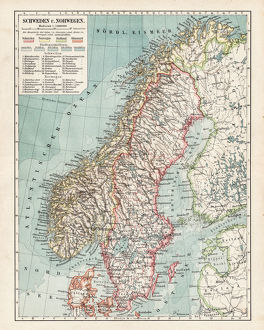 Map of Sweden and Norway 1900