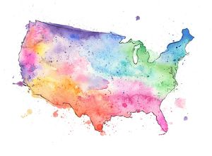 Map of United States with Watercolor Texture - Raster Illustration