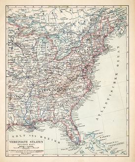 Map of USA Eastern States 1900