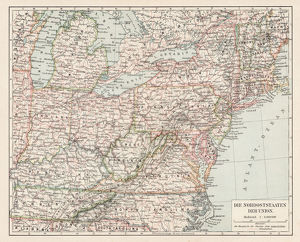 Map of usa north east states 1900