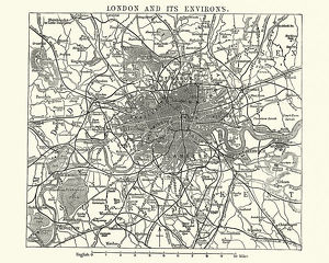 Map of Victorian London and its environs, England, 1870s