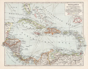 Map of West Indies and Central America 1900