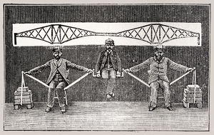 Three men demonstrating suspension bridge