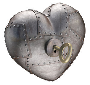 Metal heart with key, illustration