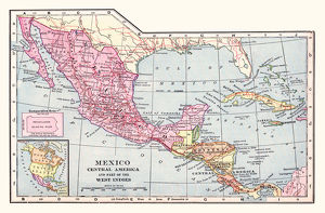 Mexico and Central America map 1892
